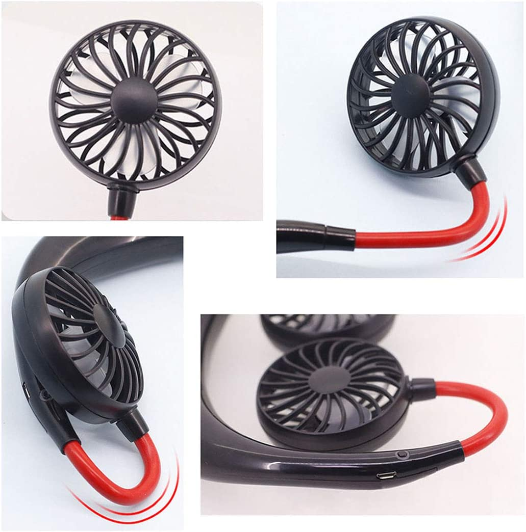 Hanging Neck Mini Portable Outdoor Sports Electric Fan Desktop Office USB Rechargeable Creative-Black