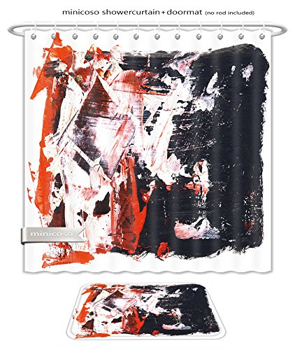 Minicoso Bath Two Piece Suit: Shower Curtains and Bath Rugs Abstract Watercolor Hand Painted By Me Nice Background For Your Project Shower Curtain and Doormat - Me Tan Show Lines Your