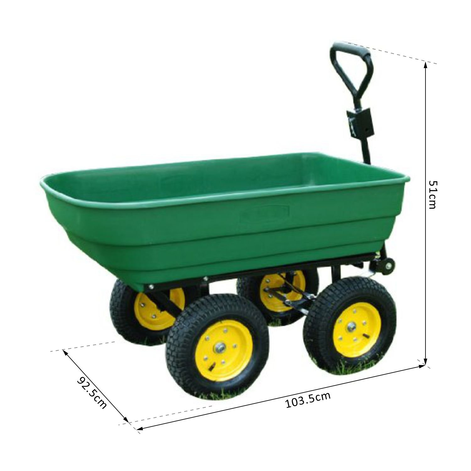 HOMCOM 125 Litre Large Garden Cart Heavy Duty 4 Wheel Trolley Dump Wheelbarrow Tipping Truck Trailer - Green Mhstar 5662-0362