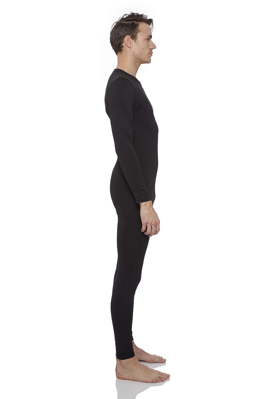 Rocky Thermal Underwear for Men Fleece Lined Thermals Mens Base Layer Long John Set Black, Large