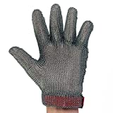 UltraSource Stainless Steel Mesh Glove, Wrist Length Cuff with Sewn-in Strap, Size Small (One Glove)