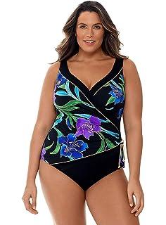 All Sizes New Longitude Black /& White Ruffle Surplice One Piece Swimsuit