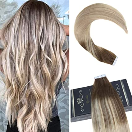 "Ugeat 16"" Extensiones de Cabello Natural Adhesivas Tape in Hair Extensions Pelo Humano 100%"