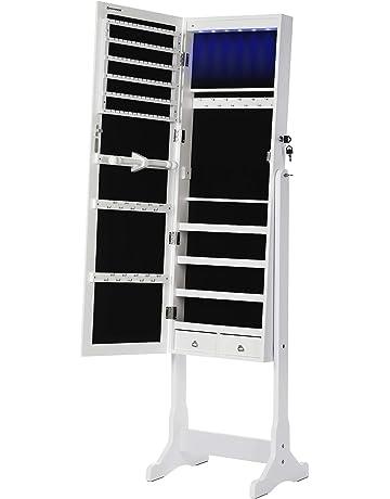 Staffa chiudibile a Chiave Bianco MDF Ampio Spazio Homfa- Armadio Pavimento a Chiave con Specchio Senza Bordo
