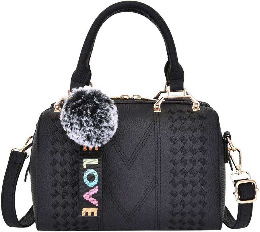 Womens Embroidered Handbag, Ladies Leather Messenger Shoulder Bag Shopping Work Satchels Phone Cosmetic Top-Handle Bags