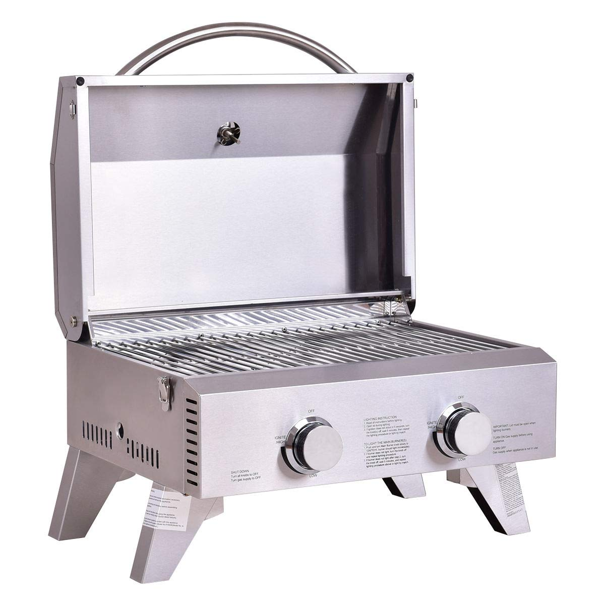 2 Burner Portable Stainless Steel BBQ Table Top Grill for Outdoors by Sales Shoppers