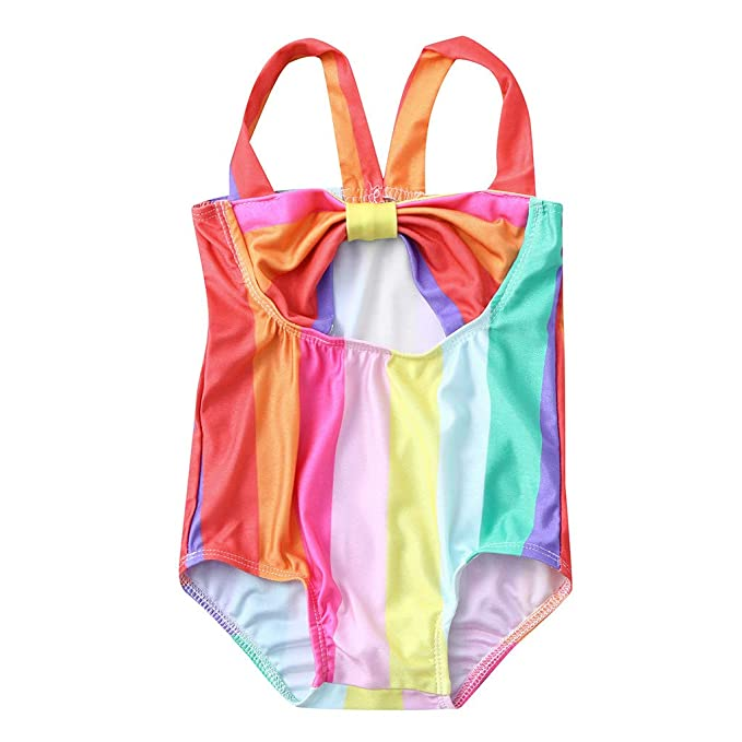 e89c5249f34c4 LNGRY Baby Swimwear,Toddler Teen Kids Girls Colorful Striped Strappy One  Piece Romper Suit Swimsuit