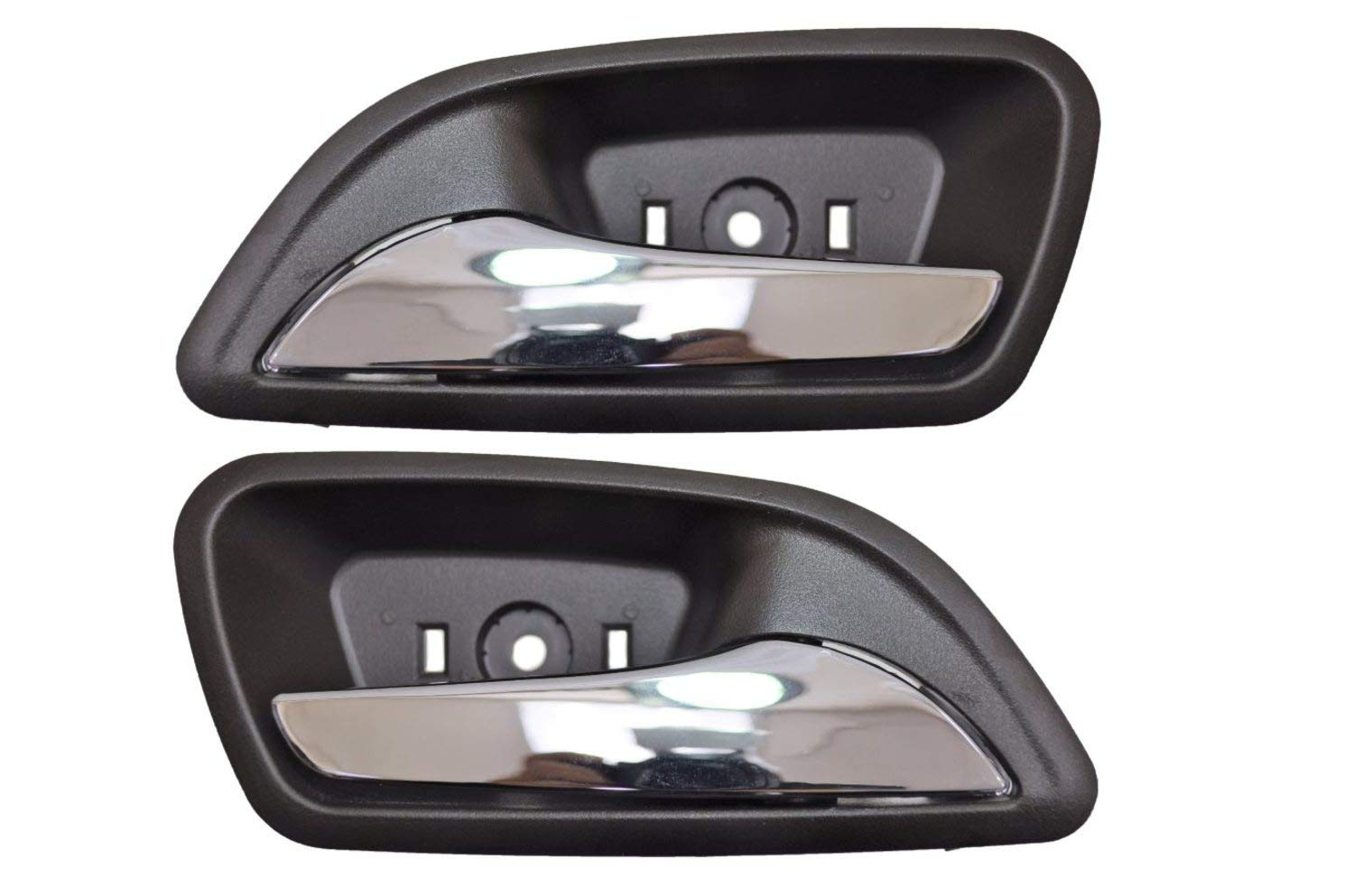 Interior Inner Inside Door Handle Cocoa Chrome Lever with Brown Housing - Left//Right Pair PT Auto Warehouse GM-2006MB-DP