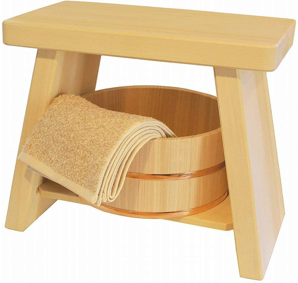 Amazon Com Youbi Hiba Wood Bath Stool Hinoki Bucket Set Big Size Stool L Size Bucket Furniture Decor