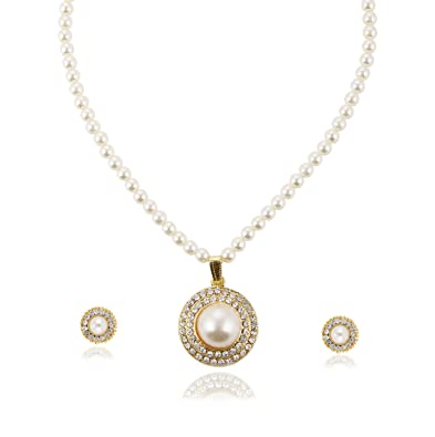 73eb1ecb4896 Buy Bling N Beads White Pearl Jewellery Set for Women Online at Low Prices  in India