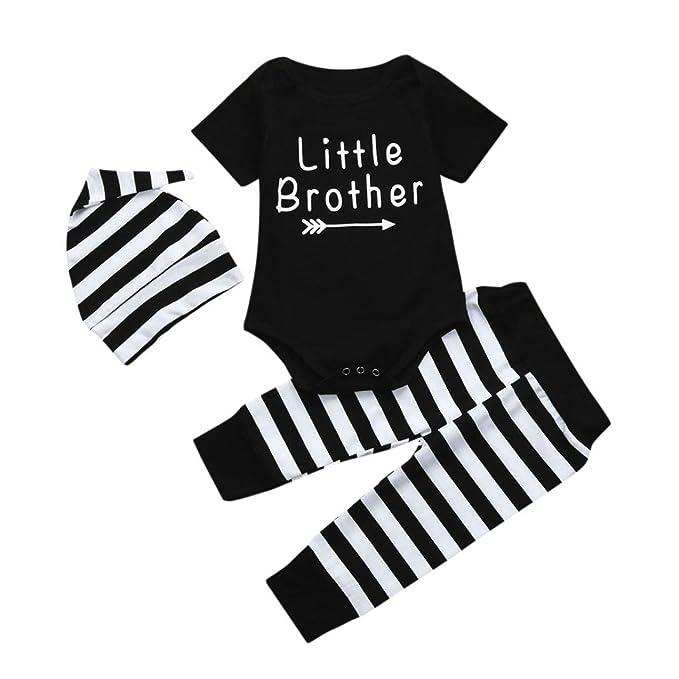 Btruely Herren Conjuntos para Recien Nacido niño ropa bebe Mono Bodies y Pantalones y Sombrero (