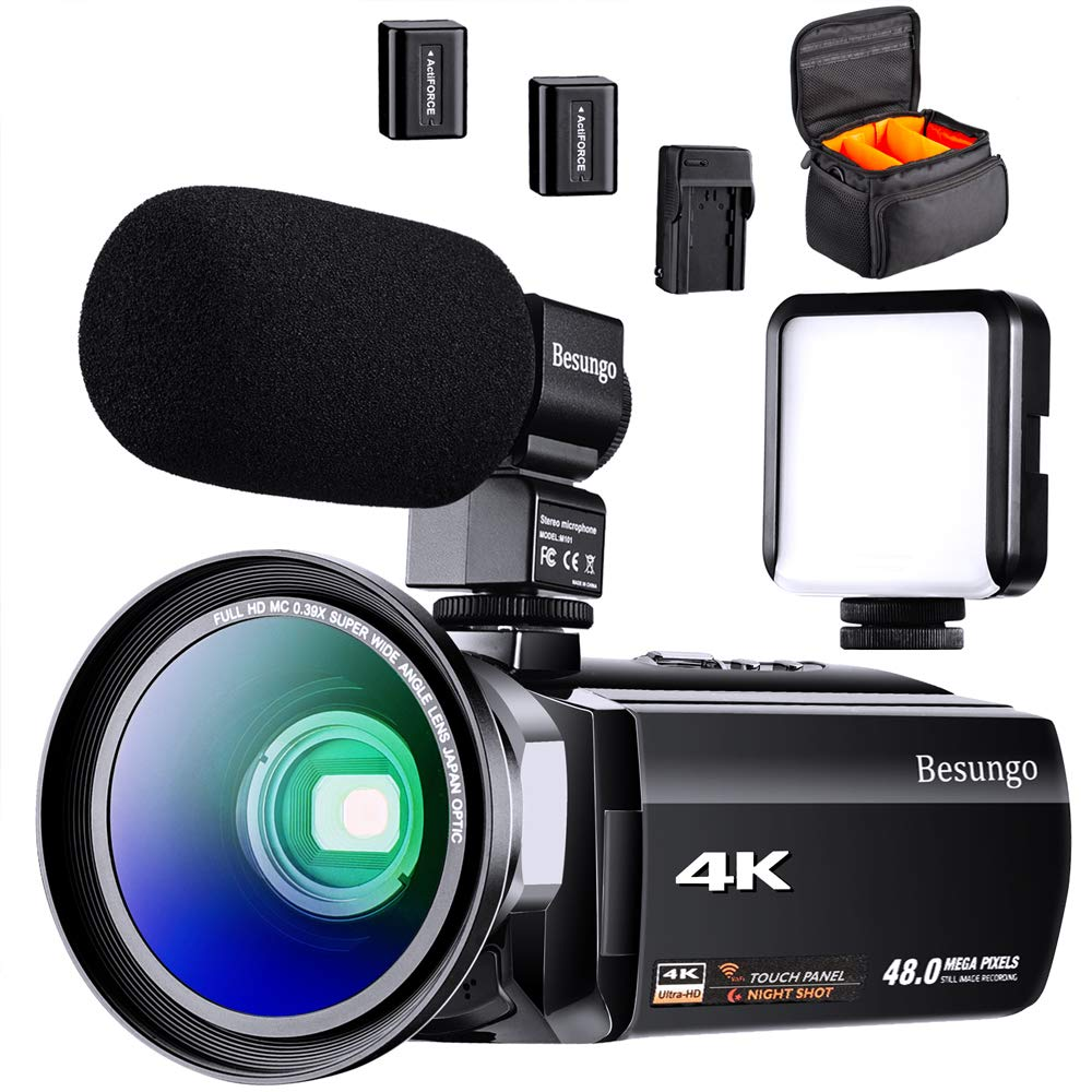 BESUNGO 4K Camcorder, Video Camera, Live Streaming Vlogging YouTube Recorder Camera 60FPS 48MP Ultra HD WiFi IR Night Vision 3.0'' IPS Touch Screen with Microphone, Wide Angle Lens, LED Video Light