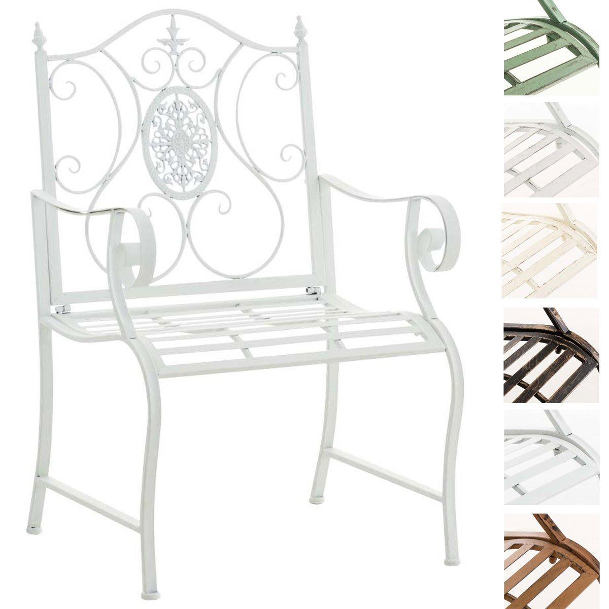 CLP Lackierter Eisen-Gartenstuhl Punjab mit Armlehne I Outdoor-Stuhl im Landhausstil I erhältlich Weiß