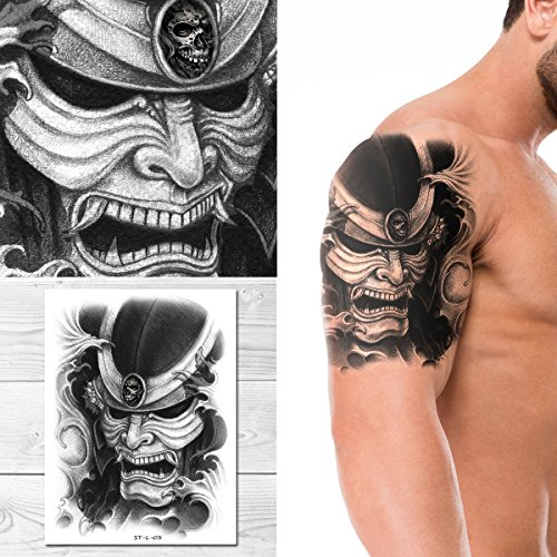 Supperb Temporary Tattoos - Skull Warrior Temporary Tattoo (Kanji Tattoos)