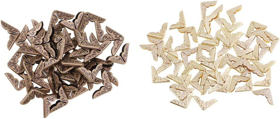 Milageto 100x Metal Scrapbook /Álbum de Fotos Men/ús Carpeta Protectores de Esquina Bronce Oro