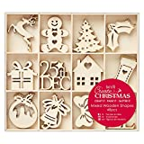 Docrafts Create Christmas 4cm Mixed Wooden Shapes (Pack of 48)