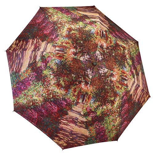 (Reverse Close Folding Umbrella, A Pathway in Monet's Garden-art on both sides.)