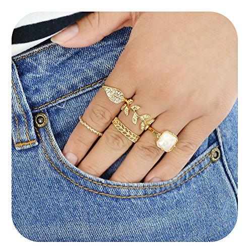 Diamond Leaf Shape (Feelontop Fashion Women 5 Pcs/Set Gold Square Leaf Shape Hollow Rings With Diamond with Jewelry Pouch)