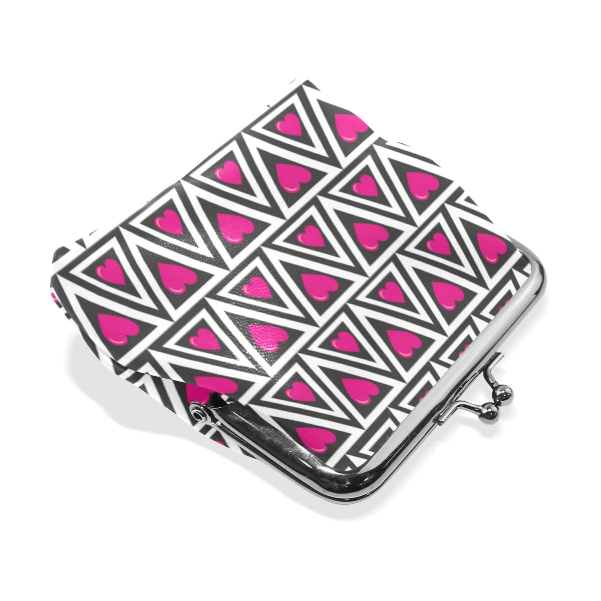 Fashion Womens Coin Purse Geometric Triangles Hearts Vintage Pouch Mini Purse Wallets