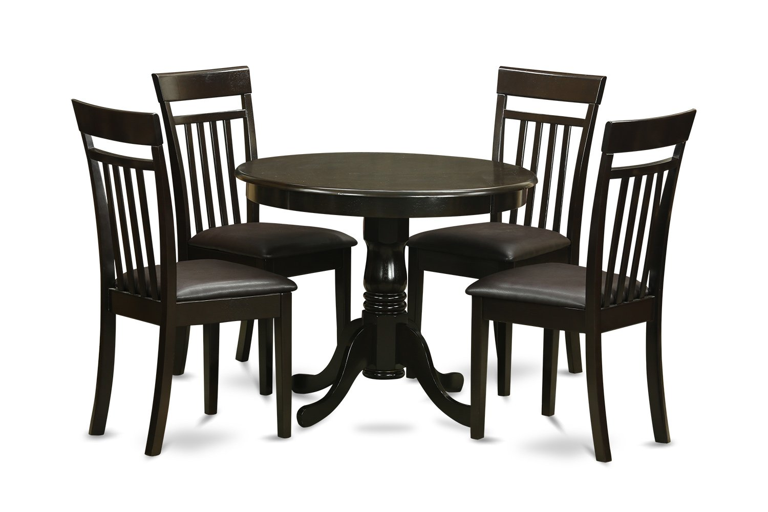 ANCA5-CAP-LC 5 PC small Kitchen Table and Chairs set-round Table and 4 Chairs for Dining room