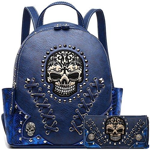 Sugar Skull Punk Art Rivet Stud Biker Purse Women Fashion Backpack Python Daypack Shoulder Bag Wallet Set (Blue Set) by Cowgirl Trendy