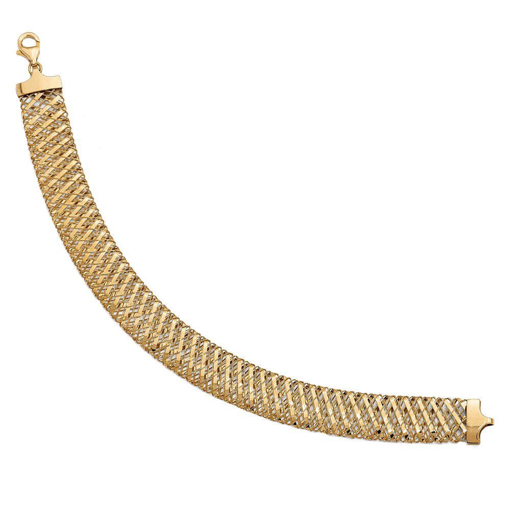 Leslie's 14k Yellow Gold 12mm Wide Flexible and Fancy Polished Mesh Stretch Bracelet 7.25 Inches