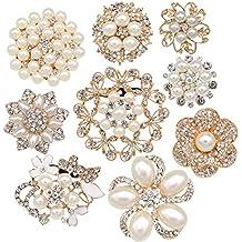 Lot 9pcs Gold-tone Rhinestone brooches, eGlomart Big Pearl Crystal wedding bouquet kit set