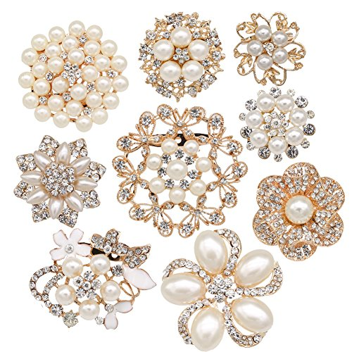 Crystal Bouquet Jewelry - Lot 9pcs Gold-tone Rhinestone brooches, eGlomart Big Pearl Crystal wedding bouquet kit set