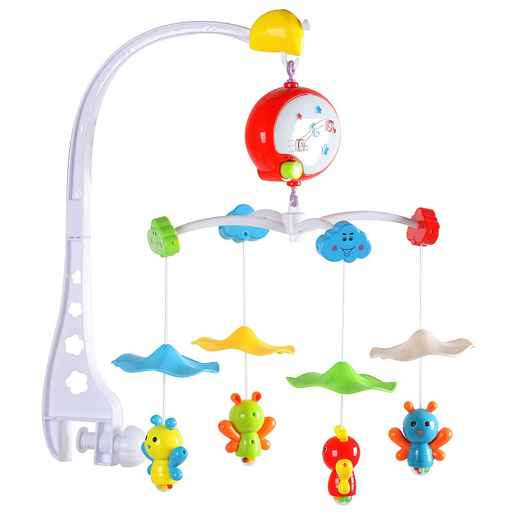 BigTree Baby Crib Cot Musical Mobile Bed Bell Holder Arm Bracke + 4 Bee Toys Best Gift for Babies