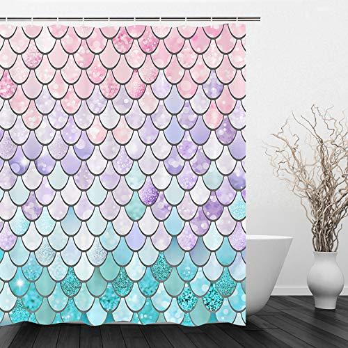 VIMMUCIR Mermaid Scales Shower Curtain Geometric Lilac Purple Pink Aqua Teal Glare Ocean Theme Bathroom Home Decor Set, Machine Washable Polyester Fabric (60