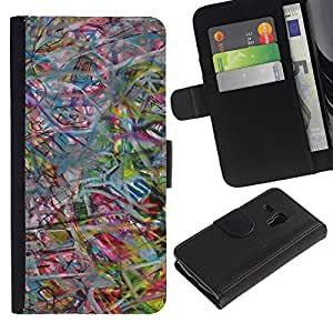Billetera de Cuero Caso Titular de la tarjeta Carcasa Funda para Samsung Galaxy S3 MINI NOT REGULAR! I8190 I8190N / Abstract Art Pastel Color / STRONG