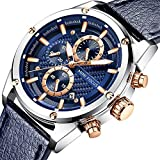 Men Watches Business, MF MINI FOCUS Quartz Waterproof (30M, Blue, Casual) Wristwatch, Sport Design Leather Band Strap Wrist Watchs for Men Gift