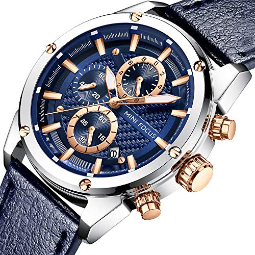 Men Watches Business, MF MINI FOCUS Quartz Waterproof (30M, Blue, Casual) Wristwatch, Sport Design Leather Band Strap Wrist Watchs for Men Gift - Leather Strap Wrist Watch