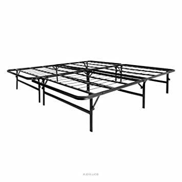 lucid foldable metal platform bed frame and mattress foundation queen