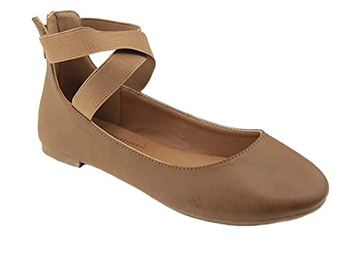 d8e6915291b1 Image Unavailable. Image not available for. Color  ANNA Dana-20 Women s  Classic Ballerina Flats with Elastic Crossing Straps ...