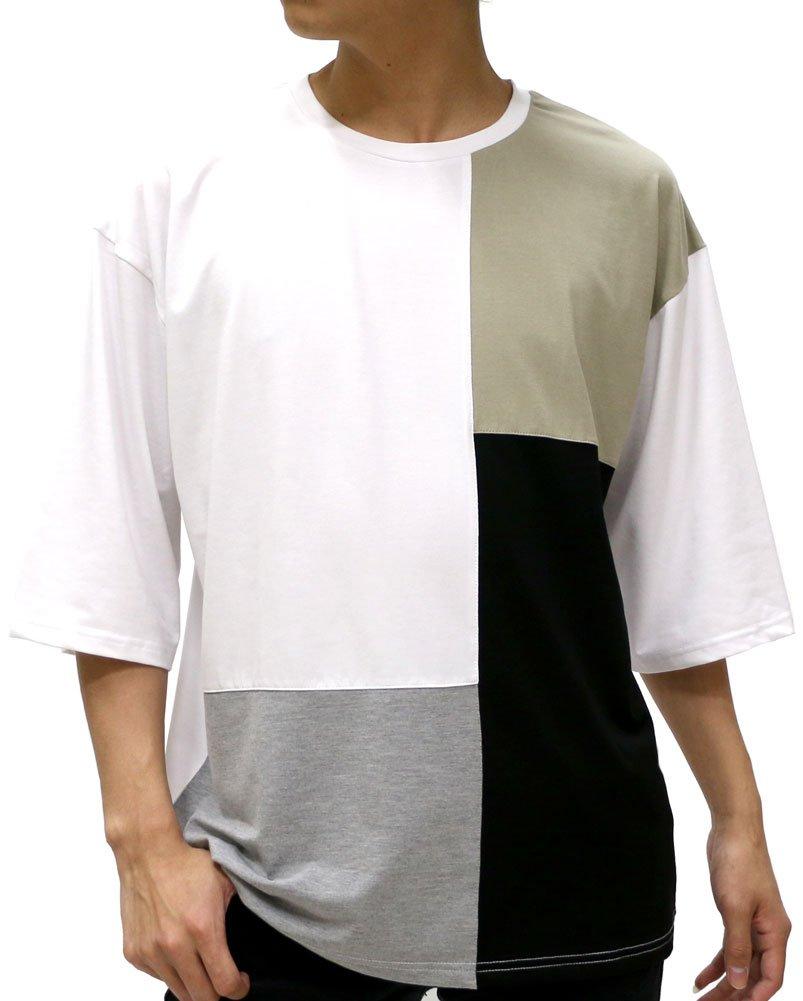 [タイムリーワーニング] Tシャツ ビッグ シルエット ブロック 切替 ドロップ ショルダー メンズ B06XY1P3N3 L|柄4 柄4 L