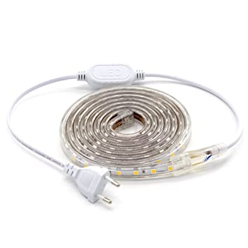 ALOTOA Tiras LED, 2M 60LEDs/M SMD 5050 Blanco frío 6000K, 230V IP68