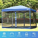 VIVOHOME 420D Oxford Heavy Duty Outdoor Easy Pop Up Canopy Screen Party Tent with Mesh Side Walls Blue 10 x 10 ft
