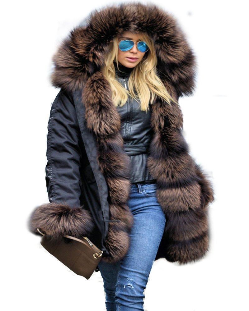 Aofur Faux Fur Parka Hooded Fur Lining Thicken Warm Coat Winter Jacket Outwear Hoodie for Women (Large, Black)
