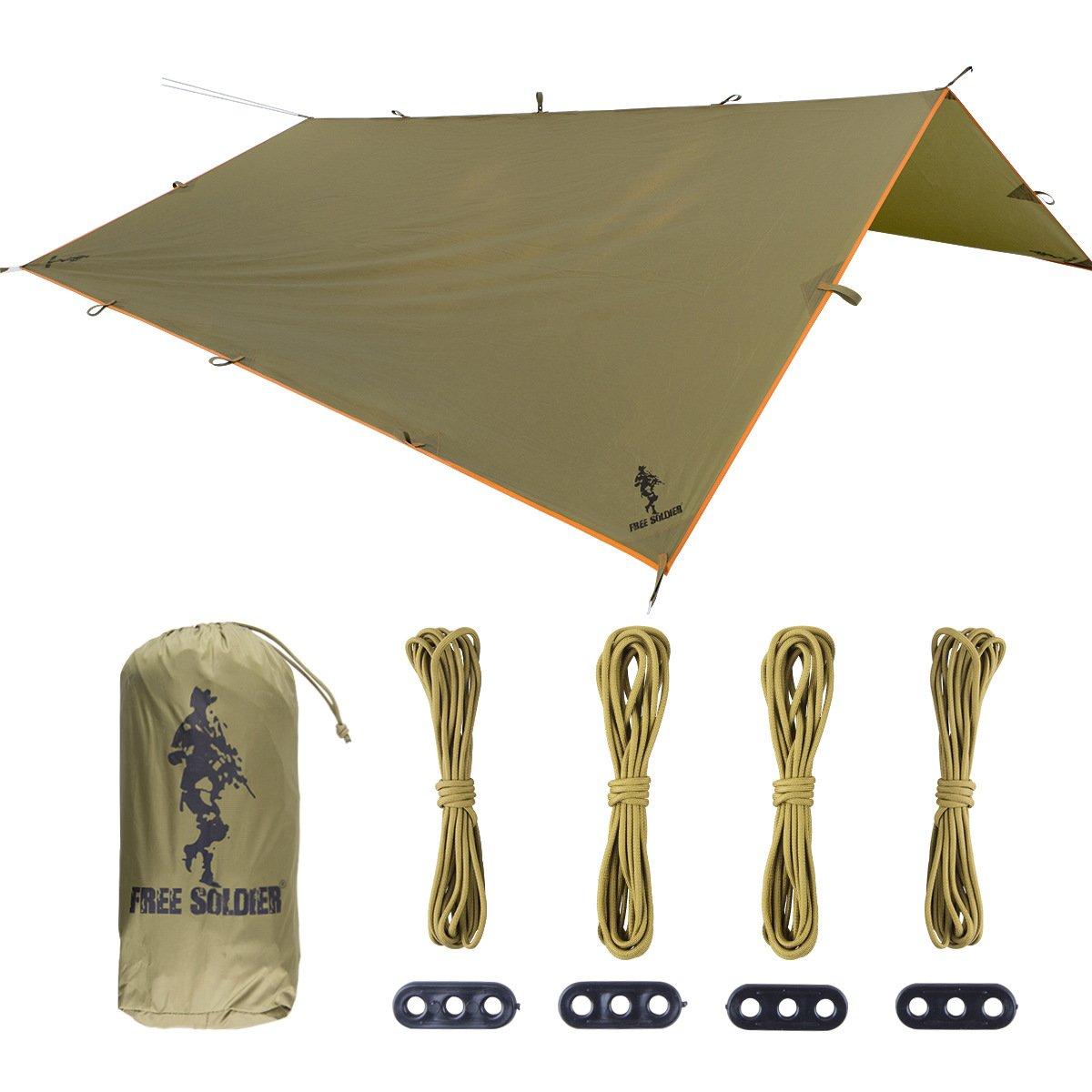 Hammock Rain Fly – Large防水TarpリップストップTarp Shelter軽量キャンプRain Tarp Easy Set Up B07CCZKN2B  ダークグリーン