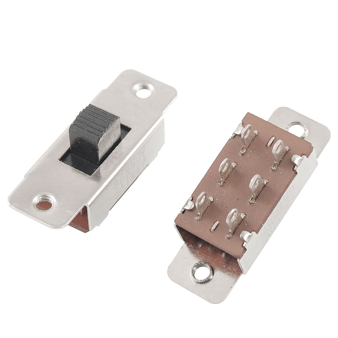 uxcell 5 Pcs On//Off//On 3 Position DPDT 2P3T PCB Panel Slide Switch 6A//125V 3A//250V AC