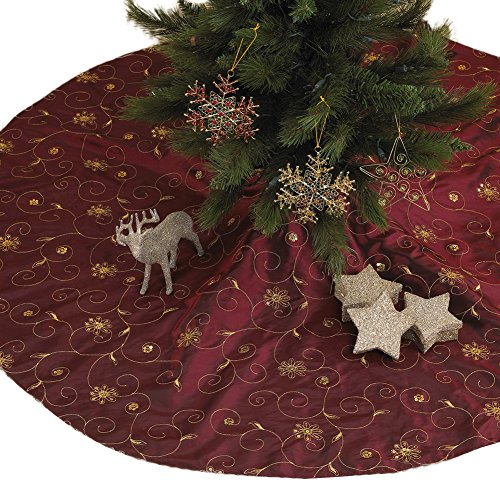 (Fennco Styles Embroidered and Sequined Holiday Christmas Tree Skirt, Burgundy, 54-inch Round)