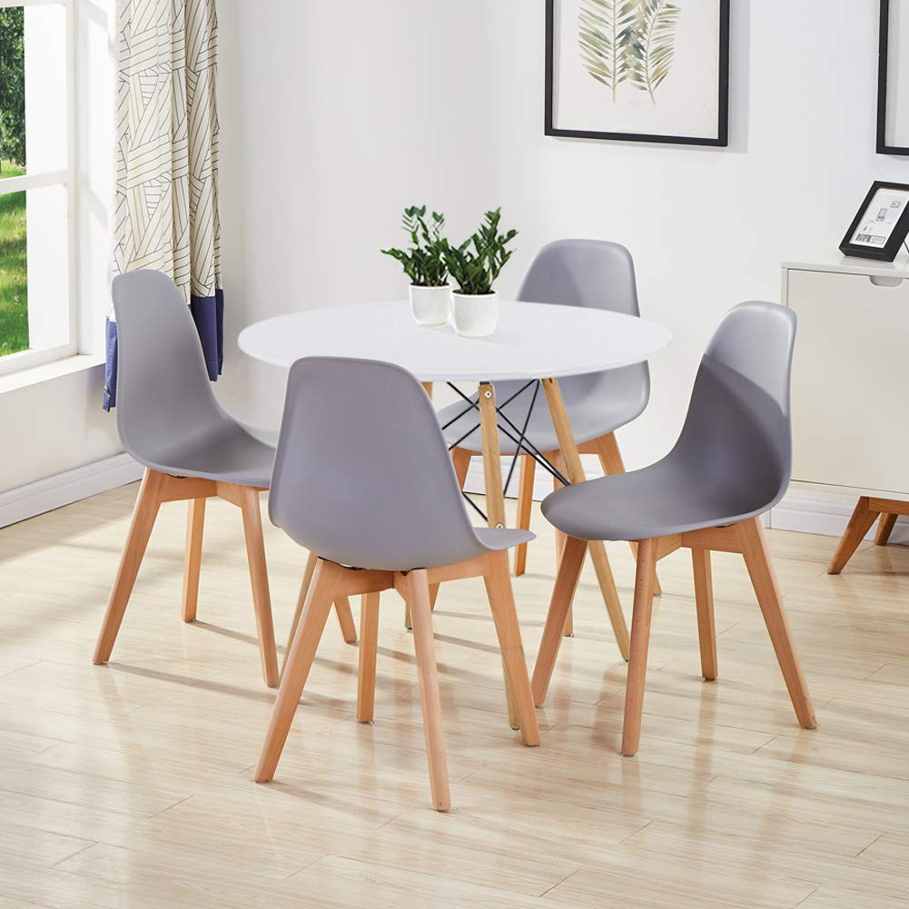 Goldfan Dining Room Set Eiffel Dining Table And Chairs Set 4 Modern Round Kitchen Table Wood Style White Grey Buy Online In China At China Desertcart Com Productid 120994638