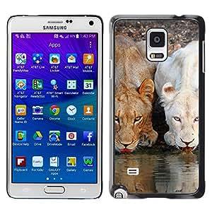 Qstar Arte & diseño plástico duro Fundas Cover Cubre Hard Case Cover para Samsung Galaxy Note 4 IV / SM-N910F / SM-N910K / SM-N910C / SM-N910W8 / SM-N910U / SM-N910G ( Lion Cute Nature Water Africa Animals)