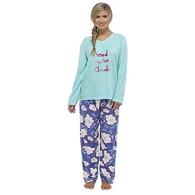 913fbdc9fa Womens Ladies Fleece Warm Lounge wear Pyjama Set Bottoms Pjs Pants Top (8-10