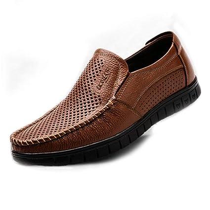FuweiEncore Mocasines para Hombres Zapatos, Zapatos de Hombre clásicos Mocasines de Cuero Genuino sin Cordones