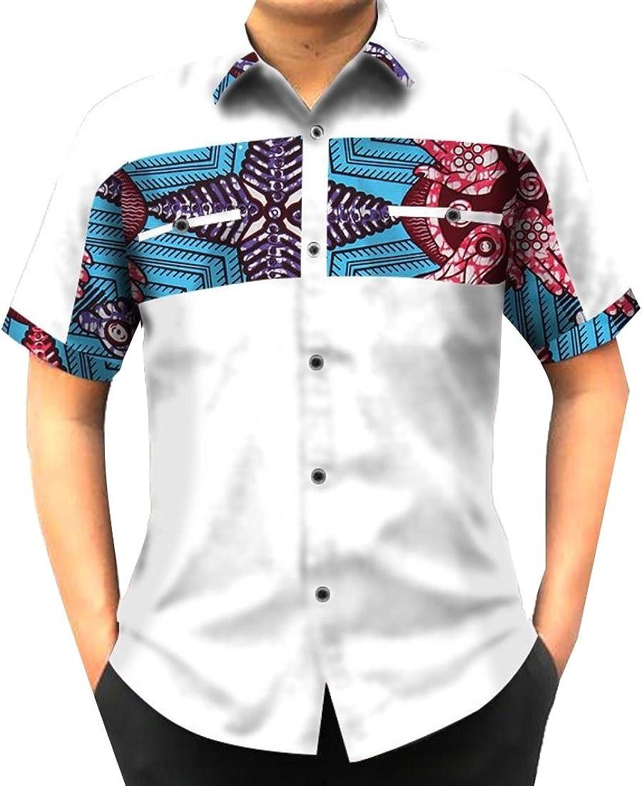 FieerMen Tops Stitch African Print Dashiki Batik Button-Down-Shirts