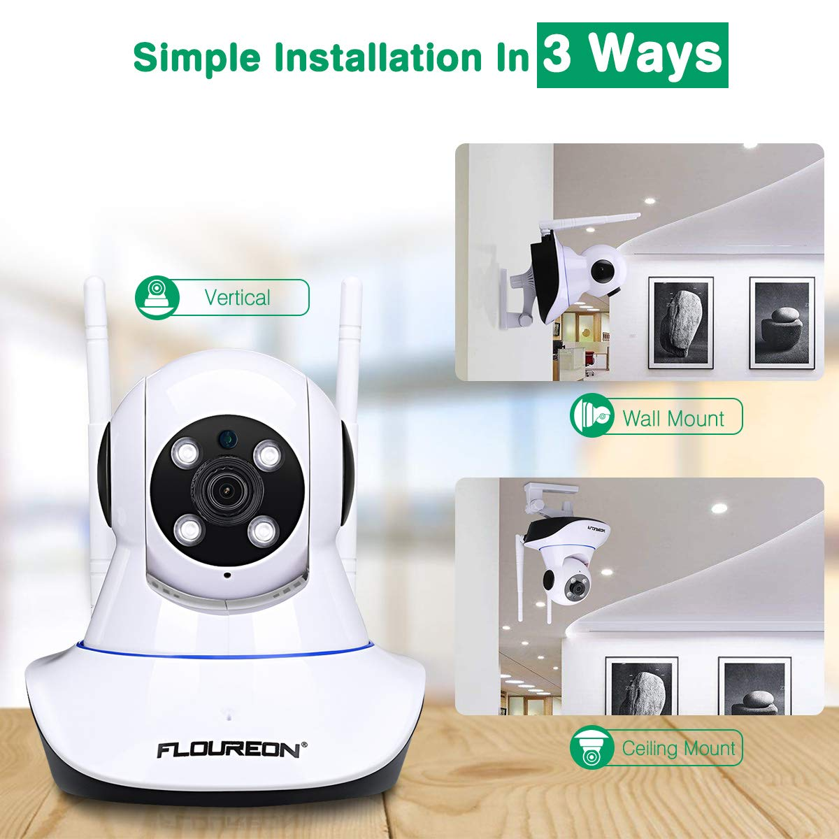 FLOUREON 1080P Indoor IP Camera 2.0MP WIFI H.264 Wireless PT Camera Baby Monitor IR-CUT with Night Vision Motin Detection Two-way Voice TF Micro SD Card Slot