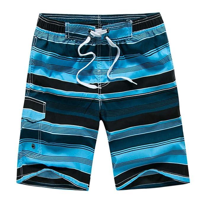 297d7d2ddb9e Costume da Bagno Uomo, Boxer Mare Uomo, Pantaloncini da Bagno Uomo a Righe  Bianco e Blù Capri Beach, Men's Navy Striped Swim Shorts LianMengMVP:  Amazon.it: ...