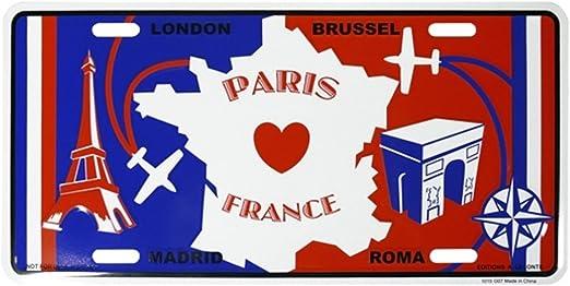 "Blue /""Paris Tin Plate Mini Souvenir /""license plate/"" Red France/"" White"